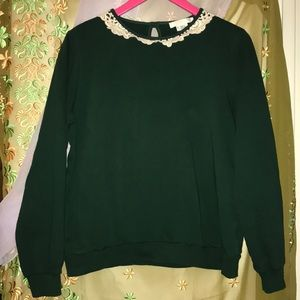 Forest green Peter Pan collar sweatshirt
